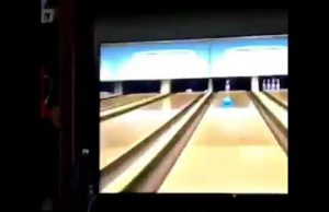 Girl fails at wii bowling and dog has a straight face