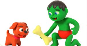 FUNNY KIDS DOG LOVES BONES  ❤ Play Doh Cartoons For Kids