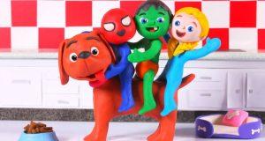 FUNNY KIDS DOG GROWS BIG ❤ Play Doh Cartoons For Kids